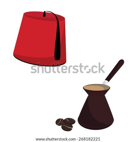 Red turkish hat and coffee pot with coffee beans vector set, turkish culture - stock vector