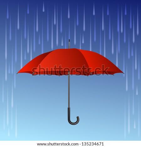 Red umbrella and rain drops. Vector illustration - stock vector