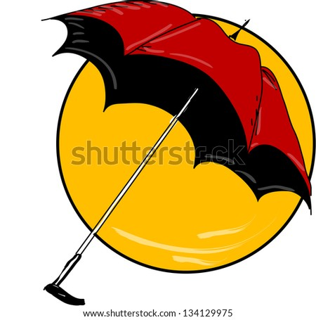 Red umbrella in yellow circle, vector ilustration - stock vector
