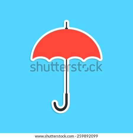 red umbrella sticker isolated on blue background. concept of thunderstorm, gingham, single pictogram, overcast and cloudy. flat style trendy modern logo design eps10 vector illustration - stock vector