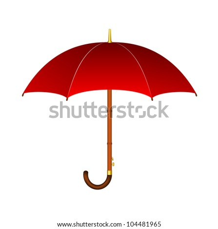Red umbrella with wooden handle - stock vector