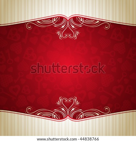 red valentine background with many hearts,  vector illustration - stock vector