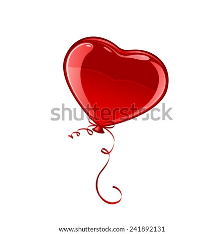 Red Valentine balloon in the form of heart isolated on white background, illustration. - stock vector