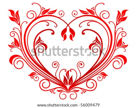 Red valentine heart in floral style. Jpeg version also available in gallery - stock vector