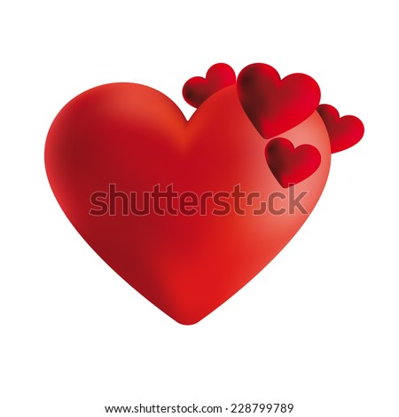 Red valentine heart. Love concept. Vector illustration