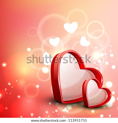 Red Valentine Hearts on floral decorative love background. EPS 10. - stock vector