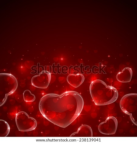 Red Valentines background with hearts and stars, illustration.  - stock vector