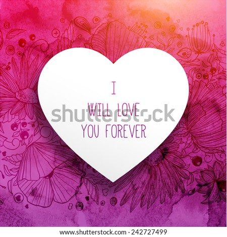 Red Valentines Day Card with Heart, Watercolor Background and Flower Ornament - stock vector