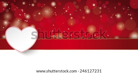 Red valentines day card with lights on the red background. Eps 10 vector file. - stock vector