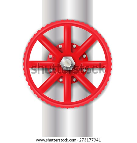 Red valve with bolt.Vector illustration - stock vector