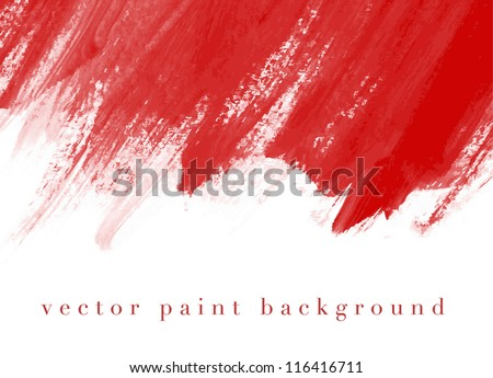 Red vector abstract hand painted watercolor daub background - stock vector