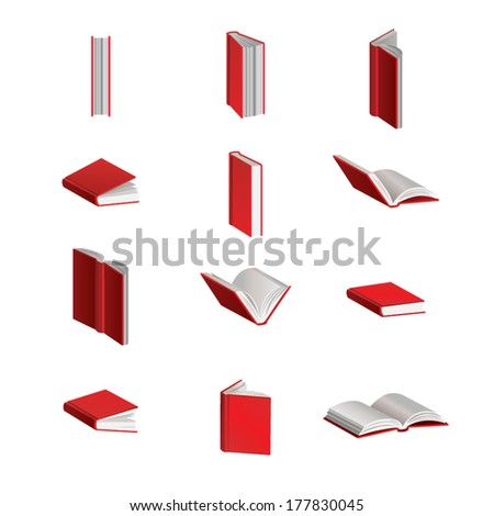 Red Vector Books in Different Positions - stock vector