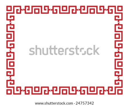 Red vector border in a chinese style - stock vector