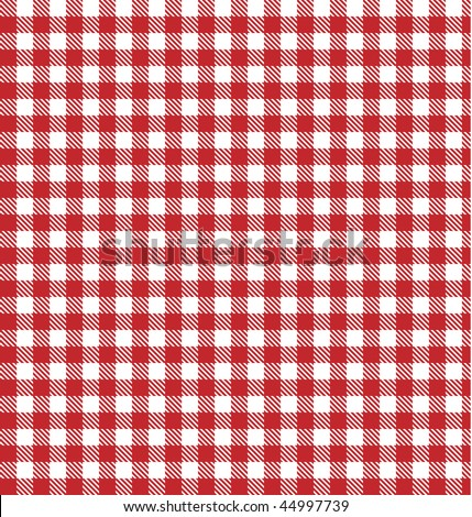 Red vector checkered picnic tablecloth. Good as background or backdrop. - stock vector