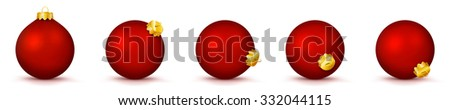 Red Vector Christmas Balls Collection - Panorama Bauble Set - X-Mas Decorations - Each Ball is in Extra Vector Layer, Cleanly Separated - Christmas Tree Decor. - stock vector