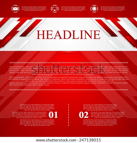 Red vector corporate abstract background. Vector design - stock vector