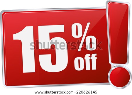 red vector 15% discount price sign - stock vector