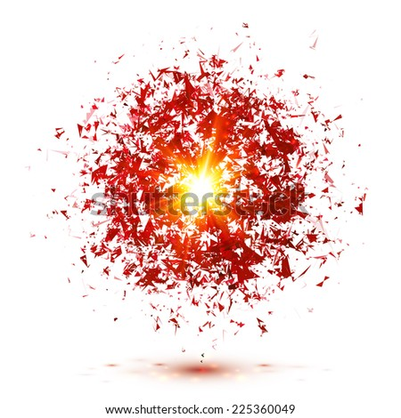 Red vector explosion isolated on white background - stock vector