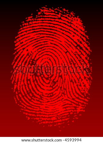 Red Vector Fingerprint on a black faded background - Very accurately scanned and traced (Vector is transparent so it can be overlaid on other images, vectors etc.) - stock vector