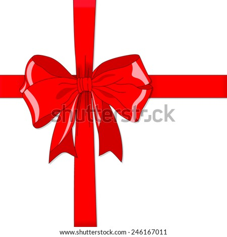 Red vector gift bow and ribbon - stock vector