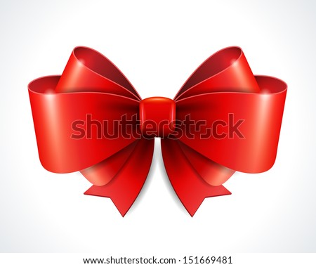 Red vector gift bow and ribbon. Vector illustration Eps 10.  - stock vector