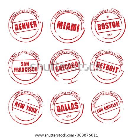 Red vector grunge stamp, American Cities. Denver, Miami, Boston, Chicago, Dallas. - stock vector