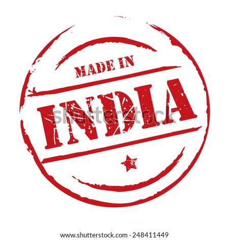 Red vector grunge stamp MADE IN INDIA