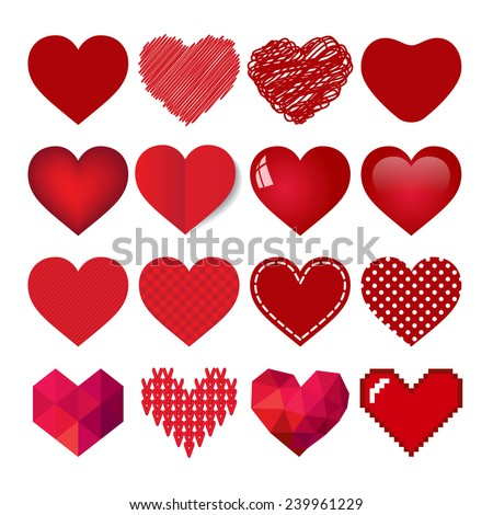 red vector heart collection - stock vector