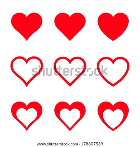 Red Vector Hearts, Isolated On White Background - stock vector