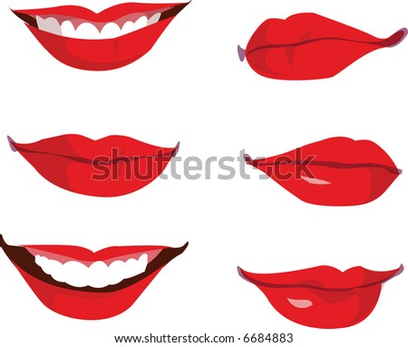 Red Vector Lips - stock vector