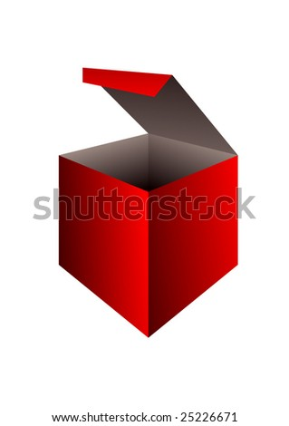 red vector opened paper box