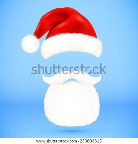Red vector Santa's hat, beard and mustaches isolated on blue background - stock vector