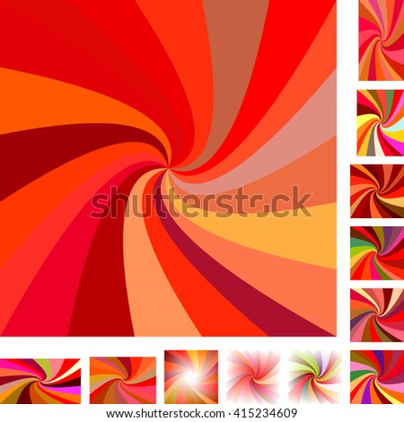 Red  vector spiral design background set. Different color, gradient, screen, paper size versions. - stock vector