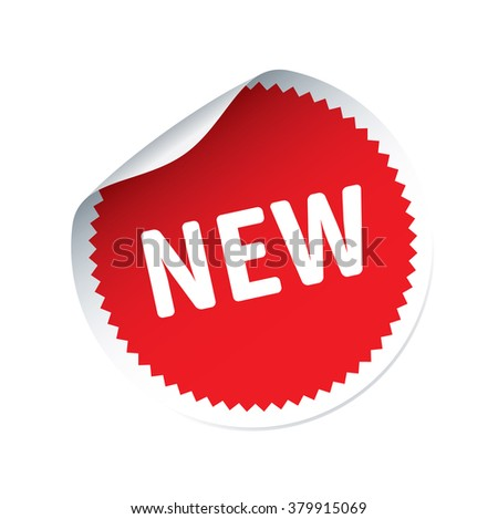 Red vector sticker and text NEW - stock vector