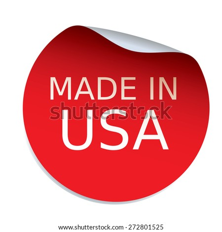 Red vector sticker MADE IN USA - stock vector
