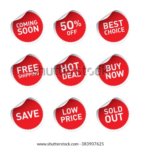 Red vector stickers and text Hot Deal, Buy Now, Best Choice, Save - stock vector