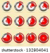 Red vector timers - easy change time every one minute - stock vector
