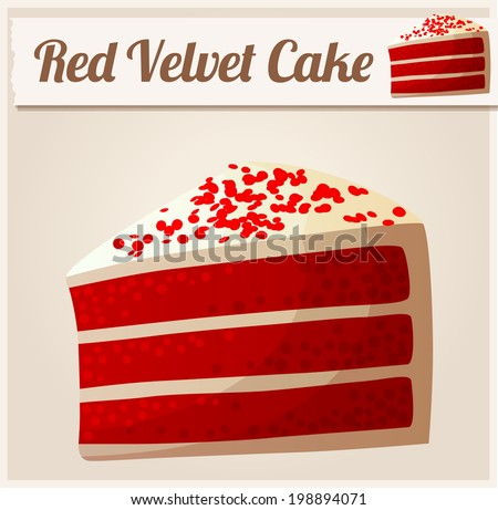 Red Velvet Cake. Detailed Vector Icon. Series of food and drink and ingredients for cooking. - stock vector