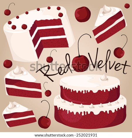 Red velvet, cake with a red color - stock vector