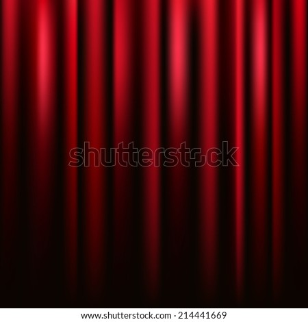 Red velvet curtain vector square texture. - stock vector