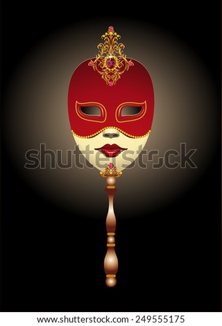 Red venetian carnival mask on a black background - stock vector