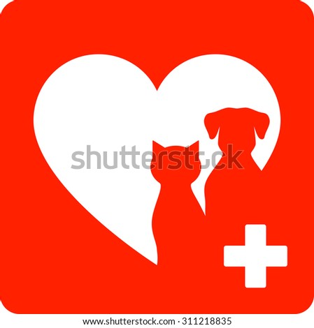 red veterinary sign with heart and pet - stock vector