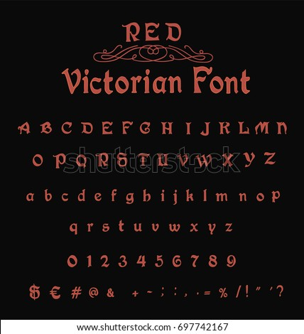 Red Victorian Font Gothic Old Stock Vector 697742167