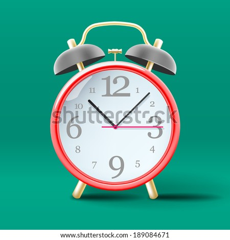 Red vintage alarm clock on green background, vector image.  - stock vector