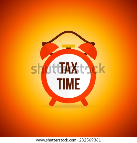 Red vintage alarm clock with tax time text poster vector illustration - stock vector