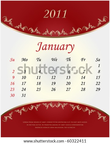 Red vintage calendar for 2011. January. Vector. - stock vector