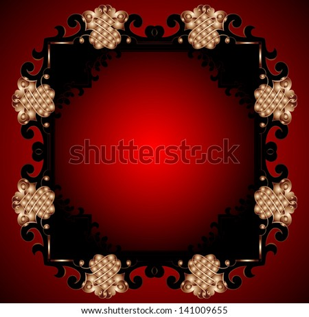Red Vintage Frame Design For Greeting Card