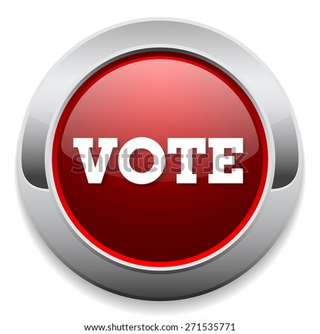 Red vote button with metal border on white background - stock vector