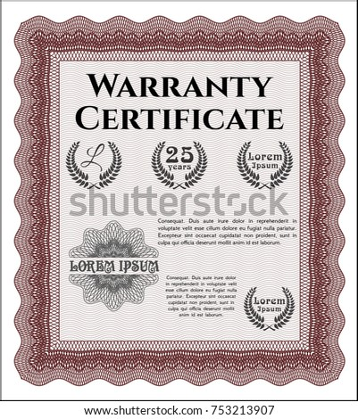 Red warranty certificate template stock vector 753213907 shutterstock red warranty certificate template yadclub Image collections
