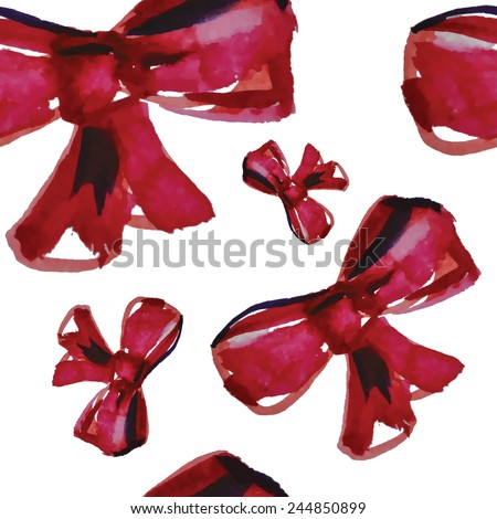 Red watercolor bowknot. Seamless pattern. - stock vector